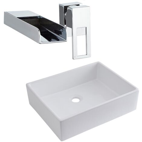 Milano Westby - Modern White Ceramic 490mm x 390mm Rectangular Countertop Bathroom Basin Sink and Wall Mounted Waterfall Basin Mixer Tap