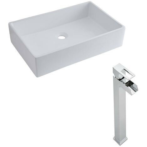 Milano Westby - Modern White Ceramic 600mm x 390mm Rectangular Countertop Bathroom Basin Sink and High Rise Waterfall Mono Basin Mixer Tap