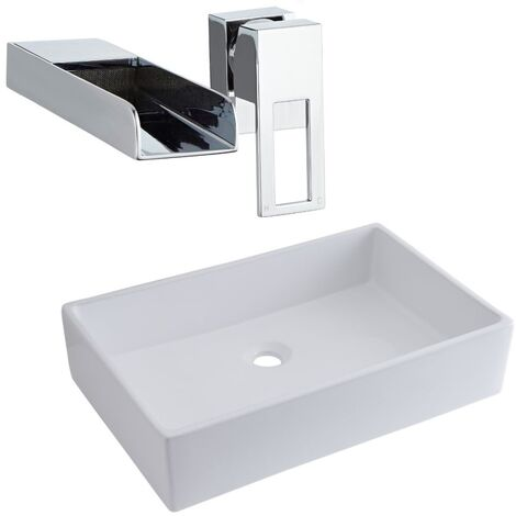 Milano Westby - Modern White Ceramic 600mm x 390mm Rectangular Countertop Bathroom Basin Sink and Wall Mounted Waterfall Basin Mixer Tap
