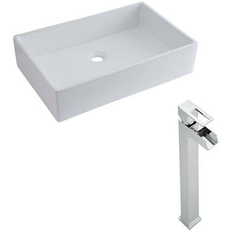 Milano Westby - Modern White Ceramic 610mm x 410mm Rectangular Countertop Bathroom Basin Sink and High Rise Waterfall Mono Basin Mixer Tap