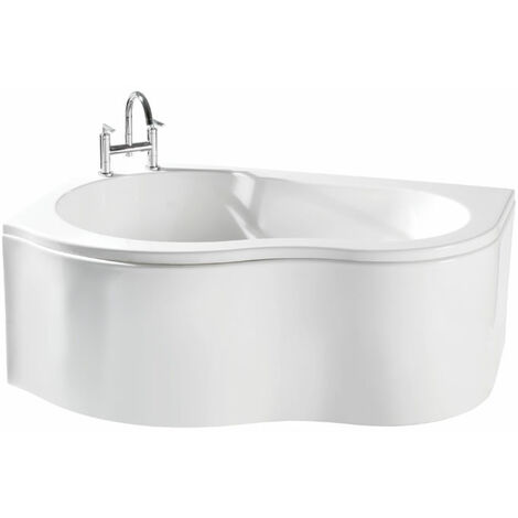Milano - White Modern Bathroom Left Hand Corner Bath with Panel - 1500mm x 1000mm