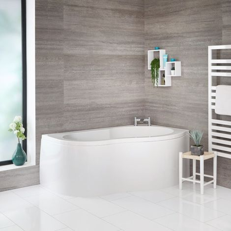 Milano - White Modern Bathroom Right Hand Corner Bath with Panel - 1500mm x 1000mm