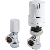 Milano White Thermostatic Control Angled Radiator Valves 15mm Central Heating (Pair)