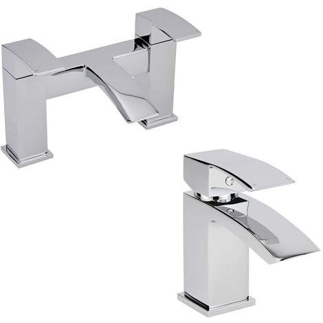Milano Wick - Modern Bathroom Mono Basin Mixer Tap and Bath Filler Tap Set – Chrome