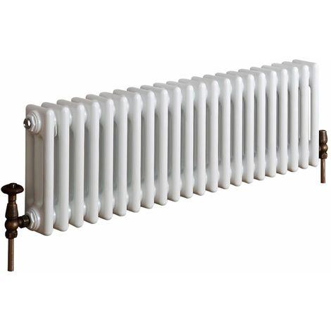 Milano Windsor - 300mm x 1010mm Traditional Cast Iron Style Triple Column Horizontal Radiator – White