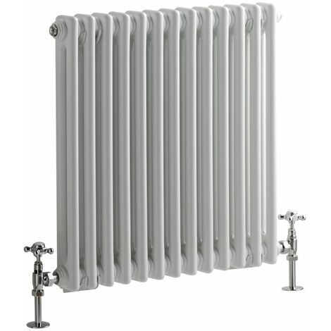 Milano Windsor - 600mm x 605mm Traditional Cast Iron Style Double Column Horizontal Radiator – White