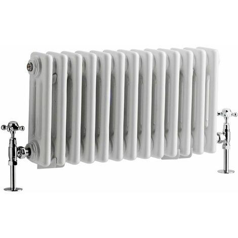 Milano Windsor - 300mm x 605mm Traditional Cast Iron Style Triple Column Horizontal Radiator – White