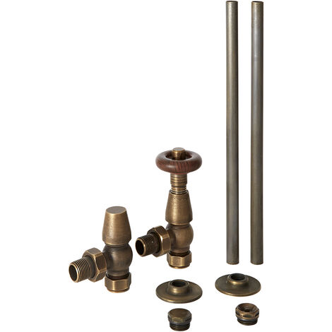 Milano Windsor - Traditional Angled Thermostatic Radiator Valve TRV and Pipe Set - Aged Bronze