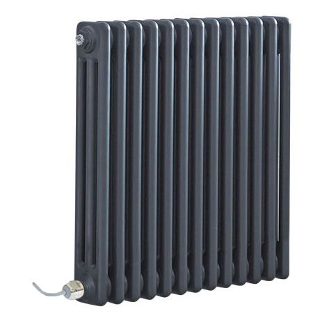 Milano Windsor - Traditional Anthracite Horizontal Triple Column Electric Radiator with Choice of Thermostat - 600mm x 605mm
