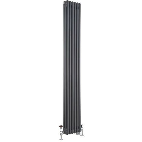 Milano Windsor - Traditional Anthracite Vertical Triple Column Dual Fuel Electric Radiator with Choice of Thermostat and Angled Thermostatic Valves - 1800mm x 290mm