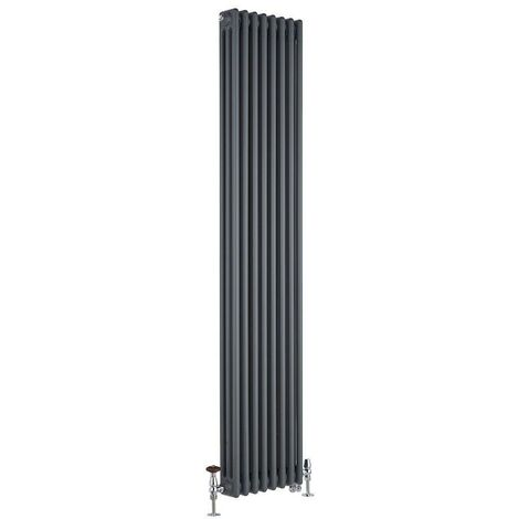 Milano Windsor - Traditional Anthracite Vertical Triple Column Dual Fuel Electric Radiator with Choice of Thermostat and Angled Thermostatic Valves - 1800mm x 380mm