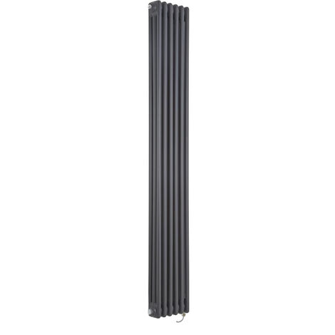 Milano Windsor - Traditional Anthracite Vertical Triple Column Electric Radiator with Choice of Thermostat - 1800mm x 290mm