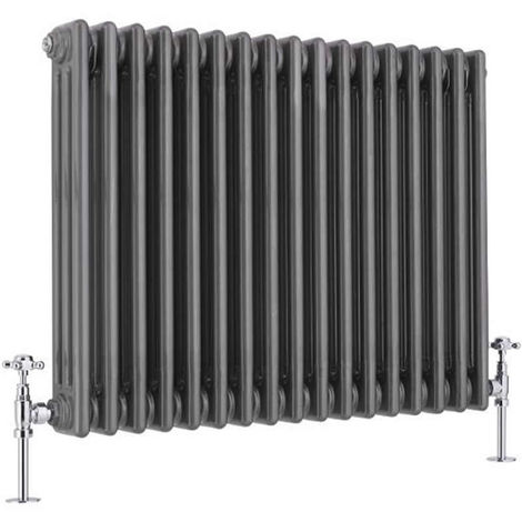 Milano Windsor - Traditional Raw Metal 3 x 17 Column Radiator - Horizontal Cast Iron Style - 600mm x 785mm