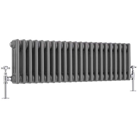 Milano Windsor - Traditional Raw Metal 3 x 22 Column Radiator - Horizontal Cast Iron Style - 300mm x 1010mm