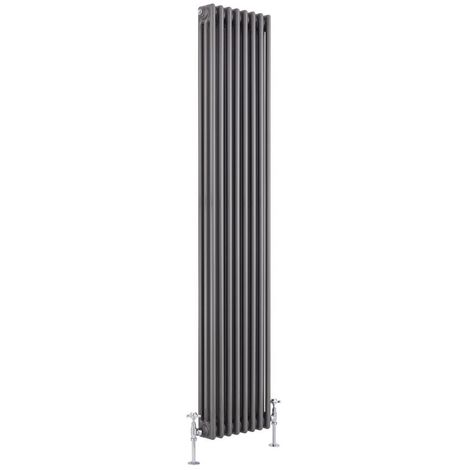 Milano Windsor - Traditional Raw Metal 3 x 8 Column Radiator - Vertical Cast Iron Style - 1800mm x 380mm