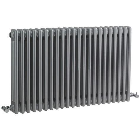 Milano Windsor - Traditional Silver 3 Column Radiator - Horizontal Cast Iron Style - 600mm x 1010mm