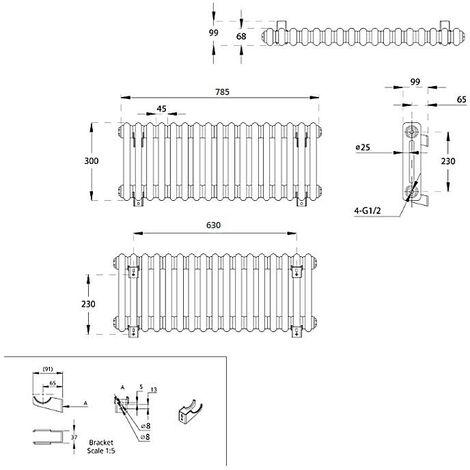 Milano Windsor - Traditional White 2 x 17 Column Radiator - Horizontal Cast Iron Style - 300mm x 785mm