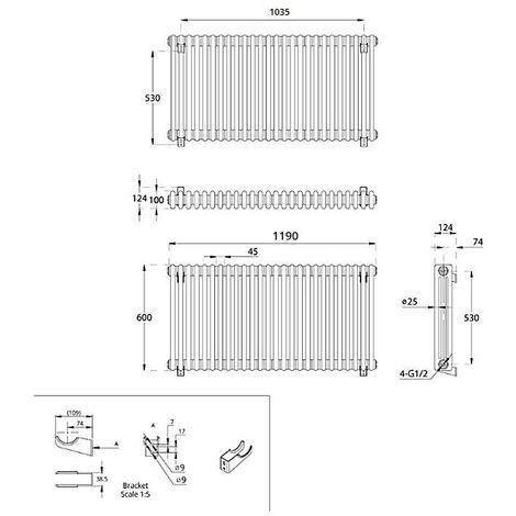 Milano Windsor - Traditional White 3 x 28 Column Radiator - Horizontal Cast Iron Style - 600mm x 1190mm