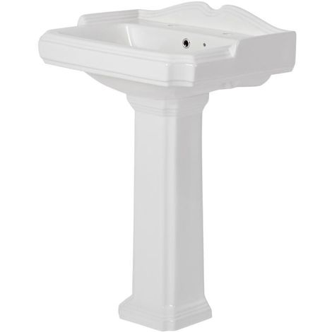 Milano Windsor - Traditional White Ceramic Bathroom Basin Sink with Full Pedestal and 2 Tap Holes - 590mm