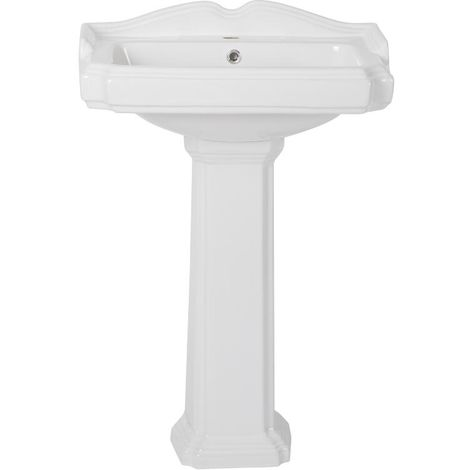 Milano Windsor - Traditional White Ceramic Bathroom Basin Sink with Full Pedestal and One Tap Hole - 600mm x 470mm