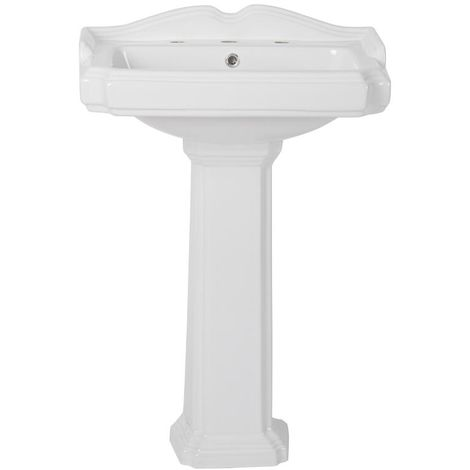 Milano Windsor - Traditional White Ceramic Bathroom Basin Sink with Full Pedestal and Three Tap Holes - 600mm x 470mm