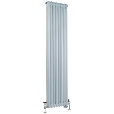 Milano Windsor - Traditional White Vertical Double Column Dual Fuel Electric Radiator with Choice of Thermostat and Angled Thermostatic Valves - 1500mm x 380mm