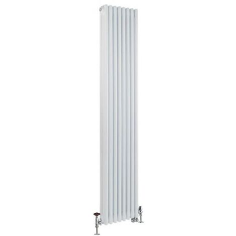 Milano Windsor - Traditional White Vertical Triple Column Dual Fuel Electric Radiator with Choice of Thermostat and Angled Thermostatic Valves - 1800mm x 380mm