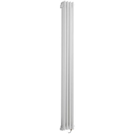Milano Windsor - Traditional White Vertical Triple Column Electric Radiator with Choice of Thermostat - 1800mm x 200mm