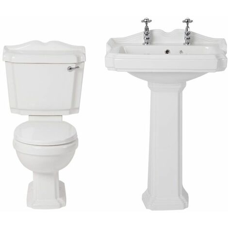 Milano Windsor - White Traditional Ceramic Close Coupled Toilet and Full Pedestal Bathroom Basin Sink with Two Tap Holes