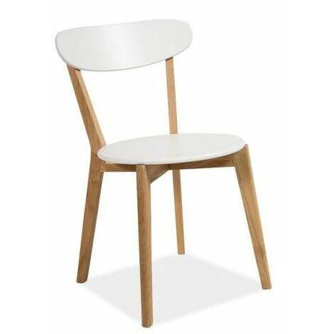 MILEN   Chaise style scandinave salon bureau salle à manger   Dimensions 79x42x42 cm   Assise et dossier en MDF   Cadre en bois - Blanc