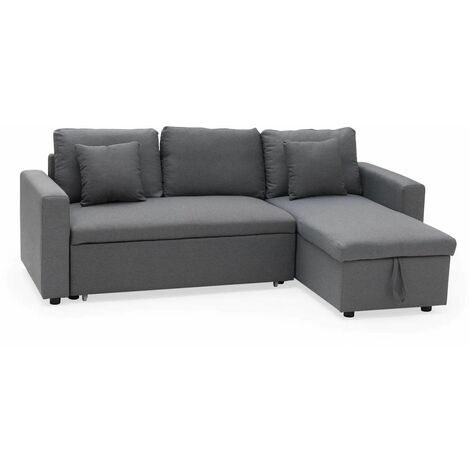 MILFORD - 3 Seater Convertible Corner Sofa - Faux Leather Black - Black