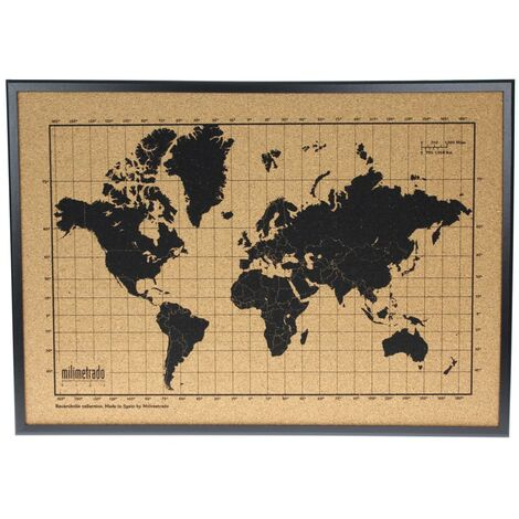 milimetrado World Map Corkboard with Frame Black and Brown 70x50 cm