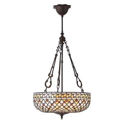 Mille Feux Large Inverted 3 Light Tiffany Pendant Chandelier - Interiors