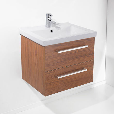 Milo 600mm Walnut Bathroom Wall Hung Basin Vanity Unit