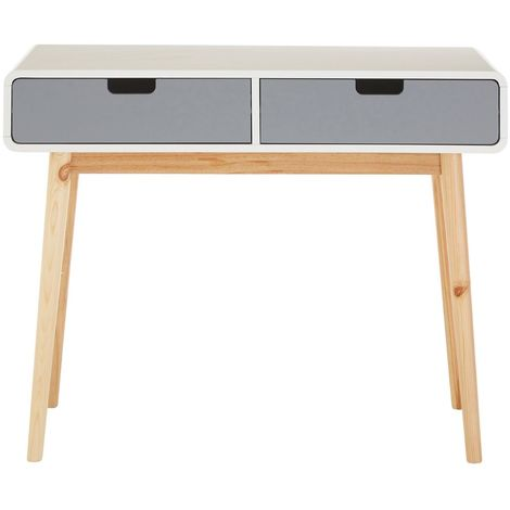 Milo Console Table, White / Grey, Pine Wood Legs