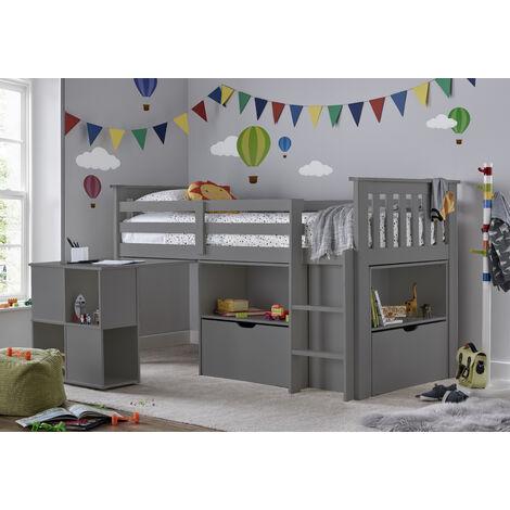 Milo Sleep Station Desk Storage Kids Bed Grey With Spring Mattress