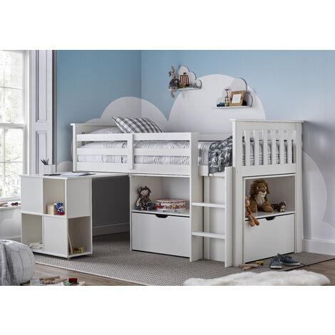 Milo Sleep Station Desk Storage Kids Bed White With Spring Mattress