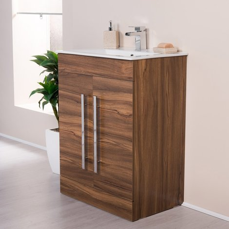 Milton Walnut 600mm Vanity Unit & Basin