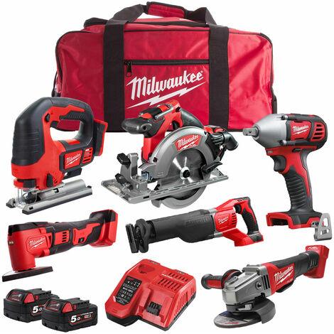 Milwaukee 18V 6 Piece Cordless Kit with 2 x 5.0Ah Batteries T4TKIT-1243
