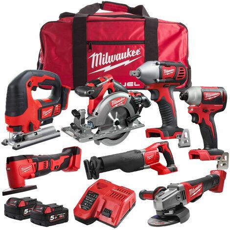 Milwaukee 18V 7 Piece Cordless Kit with 2 x 5.0Ah Batteries T4TKIT-1244