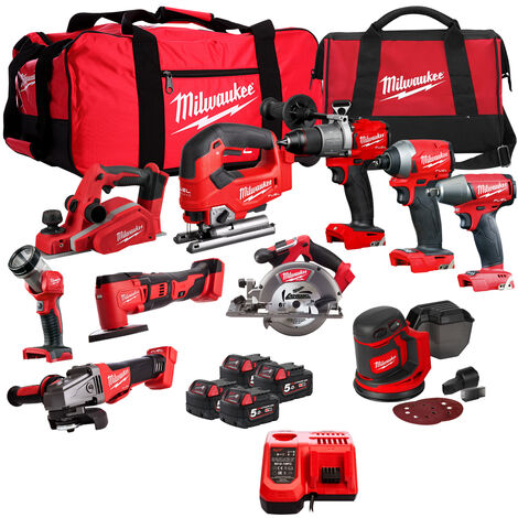 Milwaukee 18V Cordless 10 Piece Tool Kit with 4 x Batteries & Smart Charger in Bag:18V