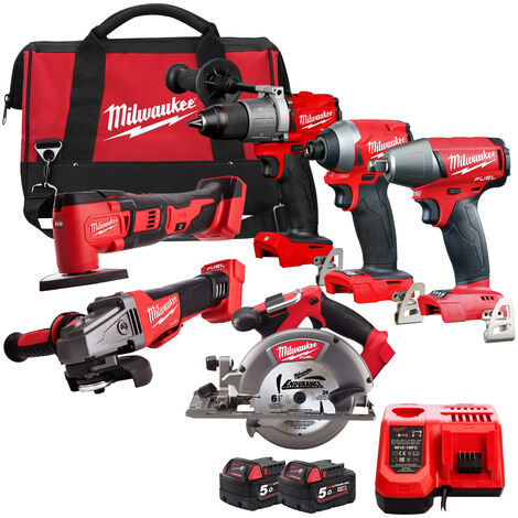 Milwaukee 18V Cordless 6 Piece Tool Kit with 2 x Batteries & Smart Charger in Bag:18V
