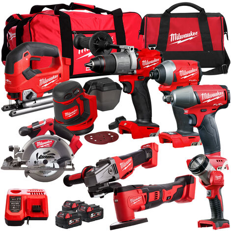 Milwaukee 18V Cordless 9 Piece Tool Kit with 3 x Batteries & Smart Charger in Bag:18V