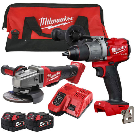Milwaukee 18V Li-ion Percussion Drill + Angle Grinder Twin Kit with 2 x 5.0Ah Batteries & Charger in Bag:18V