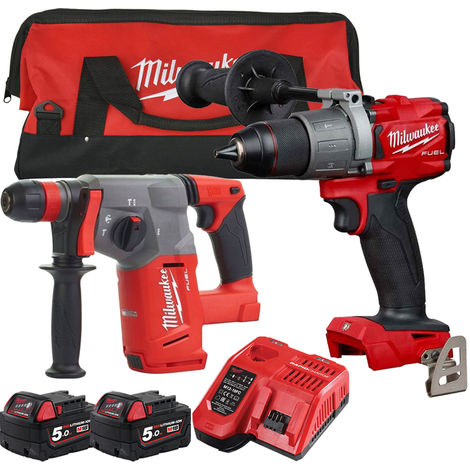 Milwaukee 18V Li-ion Percussion Drill & SDS+ Hammer Drill Twin Kit with 2 x 5.0Ah Batteries & Charger in Bag:18V