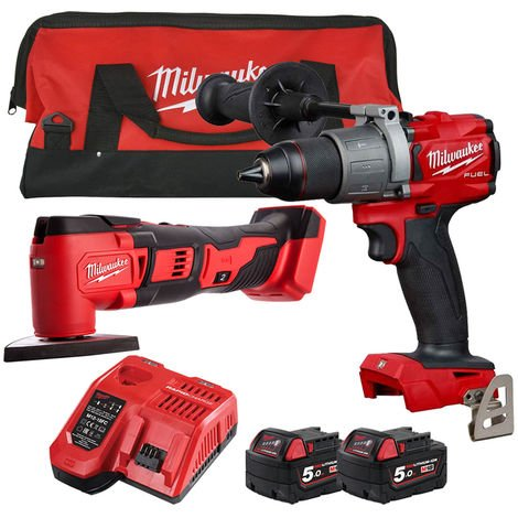 Milwaukee 18V Multi Tool & Percussion Drill with 2 x 5.0Ah Batteries & Charger in Bag T4TKIT-161:18V