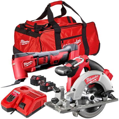 Milwaukee 2 Piece 18V Li-ion Kit 2 x 5.0Ah Batteries & Charger MIL-2:18V