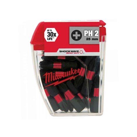 MILWAUKEE 25MM Ph2 IMPACT BITS 25pc