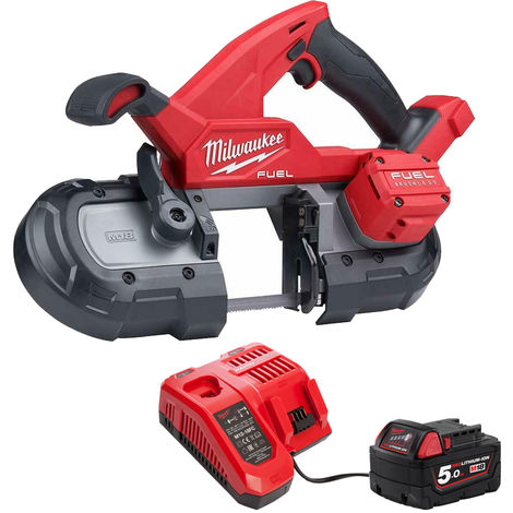 Milwaukee 2829-20 18V Brushless Band Saw 85mm with 1 x 5.0Ah Battery & Charger:18V