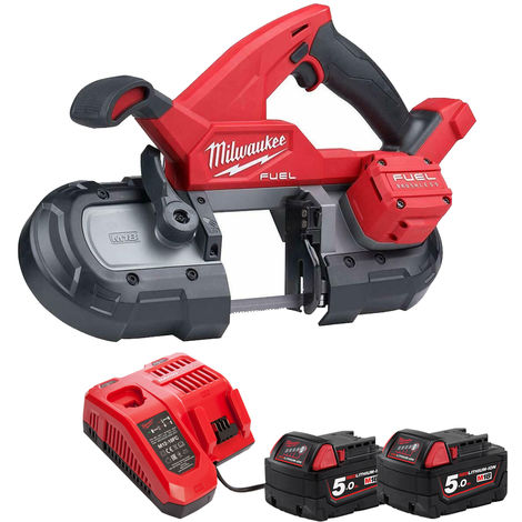 Milwaukee 2829-20 18V Brushless Band Saw 85mm with 2 x 5.0Ah Batteries & Charger:18V